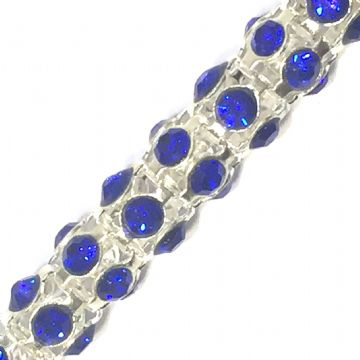 7mm Royal blue rhinestone silver colour reticulated chain -- 1meter